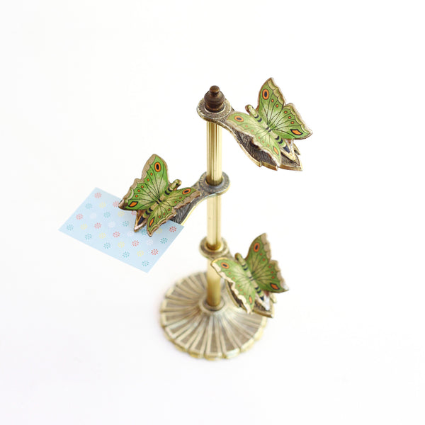 SOLD - Vintage Brass Butterfly Note Holder & Photo Display