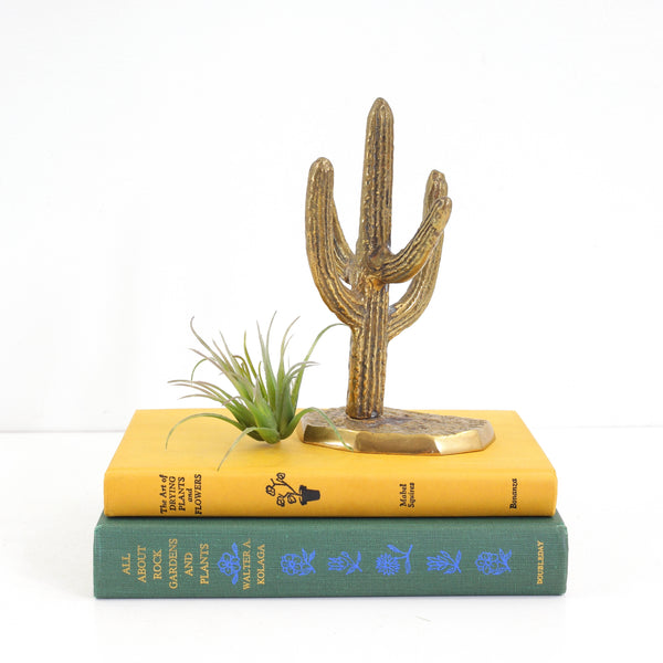 SOLD - Vintage Brass Cactus Jewelry Holder