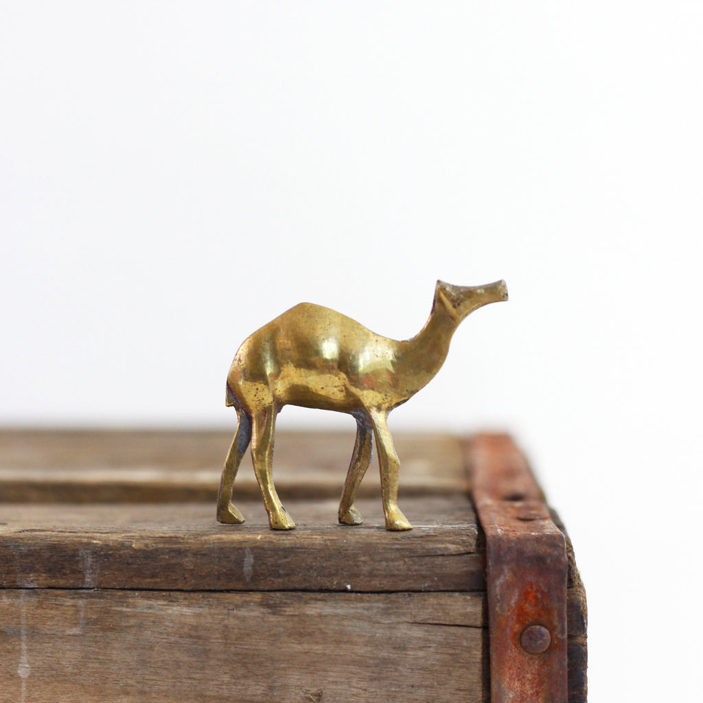 SOLD - Vintage Mini Brass Camel Figurine