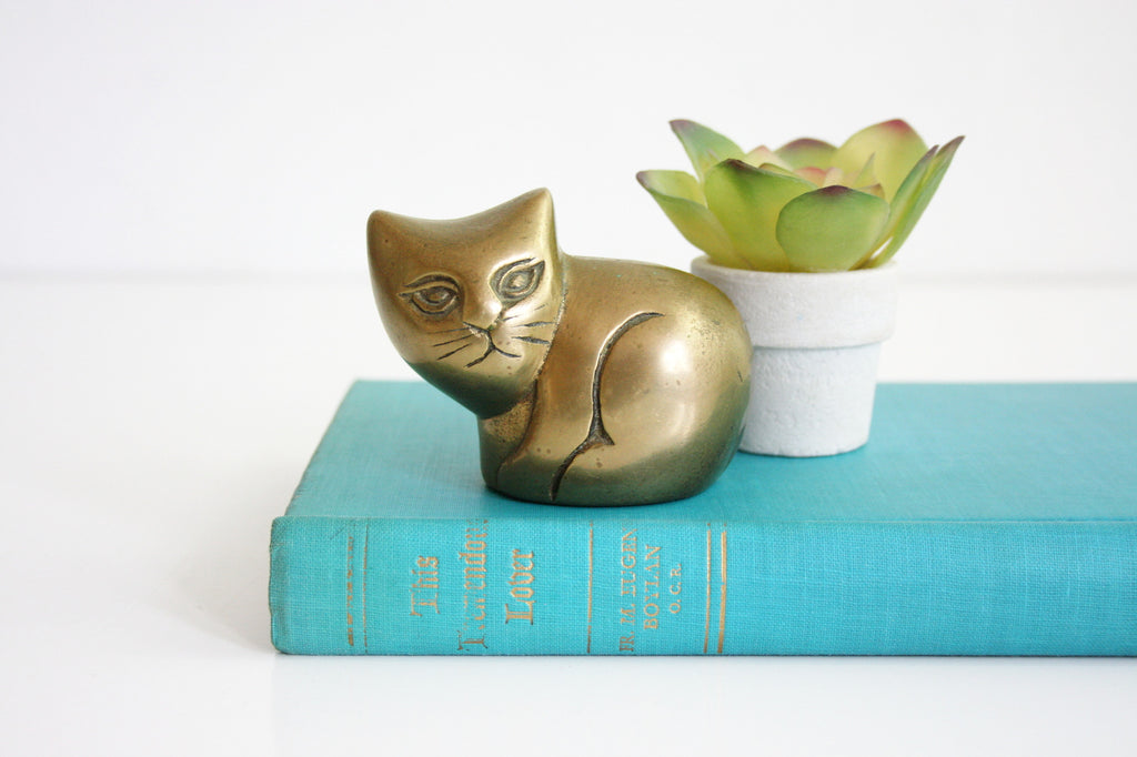 SOLD - Mid Century Brass Cat Figurine