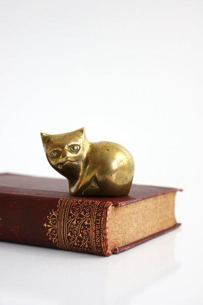 SOLD - Mid Century Modern Brass Cat / Vintage Brass Cat Figurine
