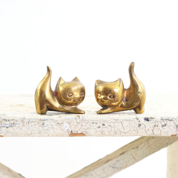 SOLD - Mid Century Modern Brass Cats