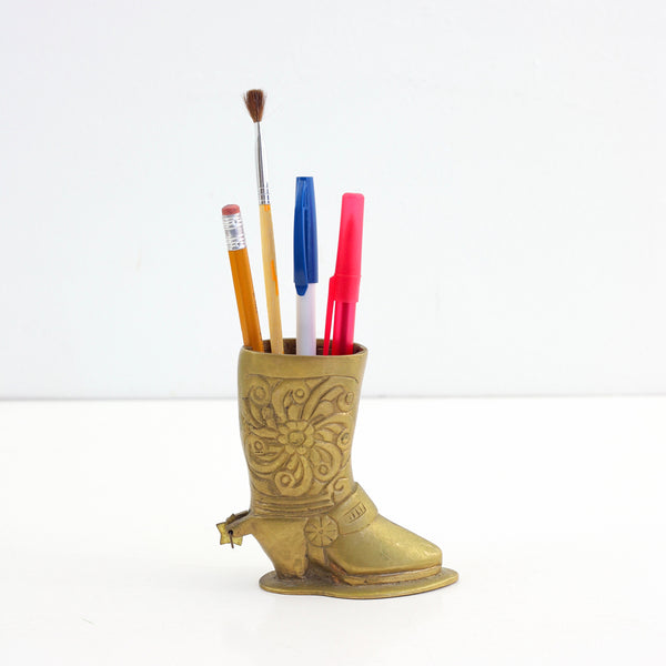 Vintage Brass Cowboy Boot Pencil Holder