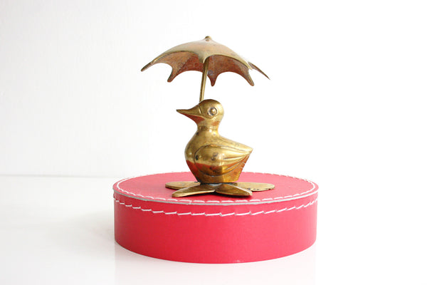 SOLD - Vintage Brass Duck with Umbrella