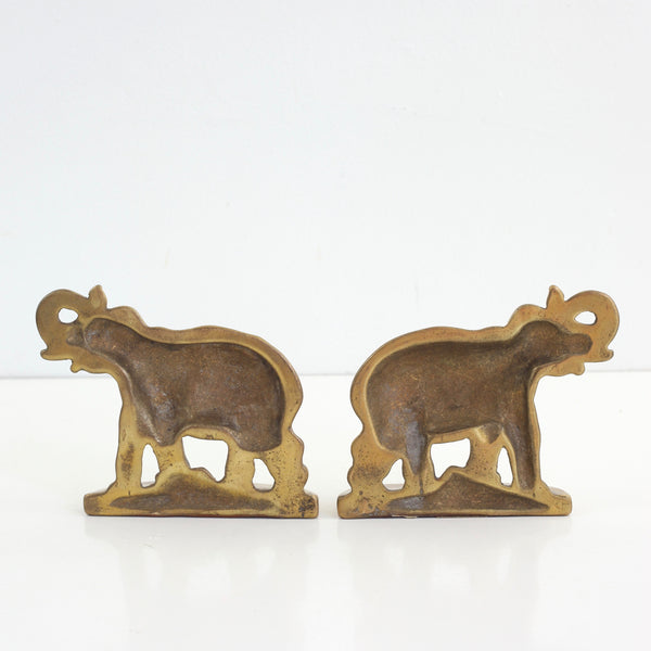 SOLD - Vintage Brass Elephant Bookends