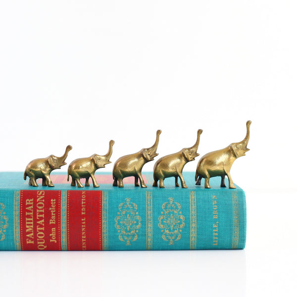 SOLD - Set of 5 Vintage Brass Elephant Figurines