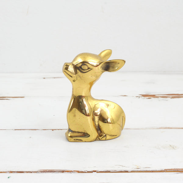 SOLD - Vintage Brass Fawn