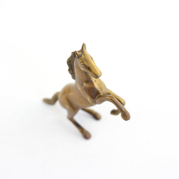 SOLD - Vintage Rearing Brass Horse Figurine