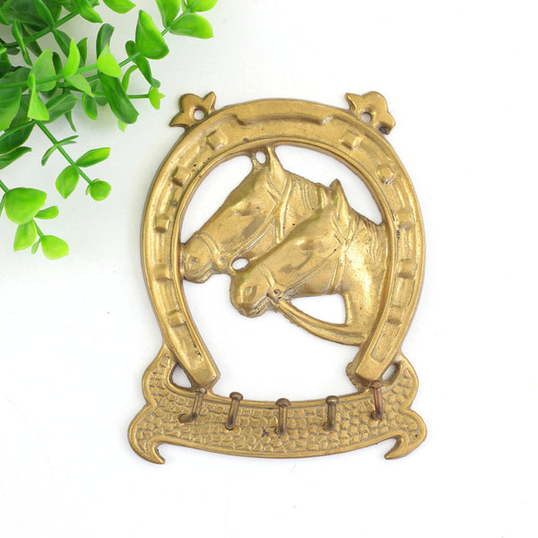 SOLD - Vintage Brass Horse Wall Hooks