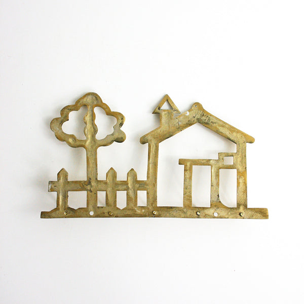 SOLD - Vintage Brass House Wall Hooks / Metal Neighborhood Key Rack