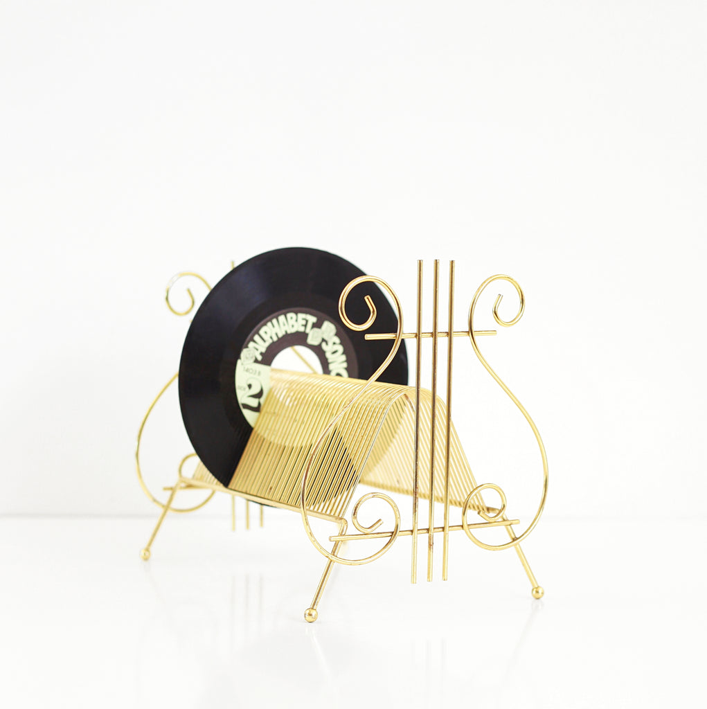 SOLD - Mid Century Brass Lyre Record Holder