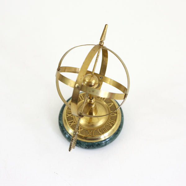 SOLD - Vintage Brass & Marble Armillary Sphere