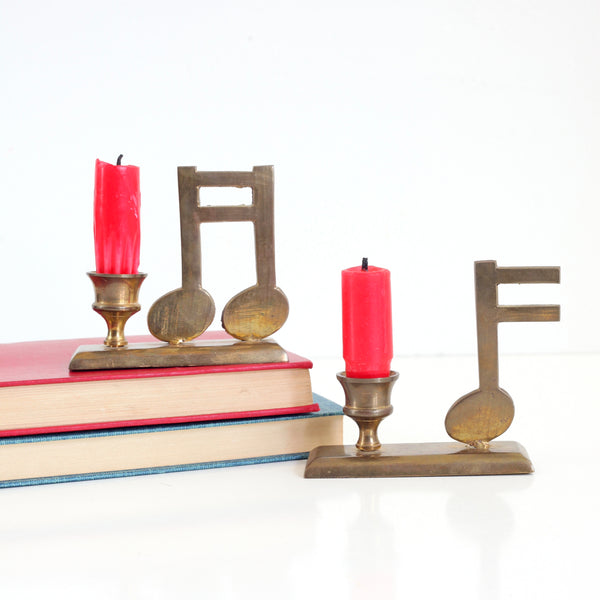Vintage Brass Musical Note Candlesticks