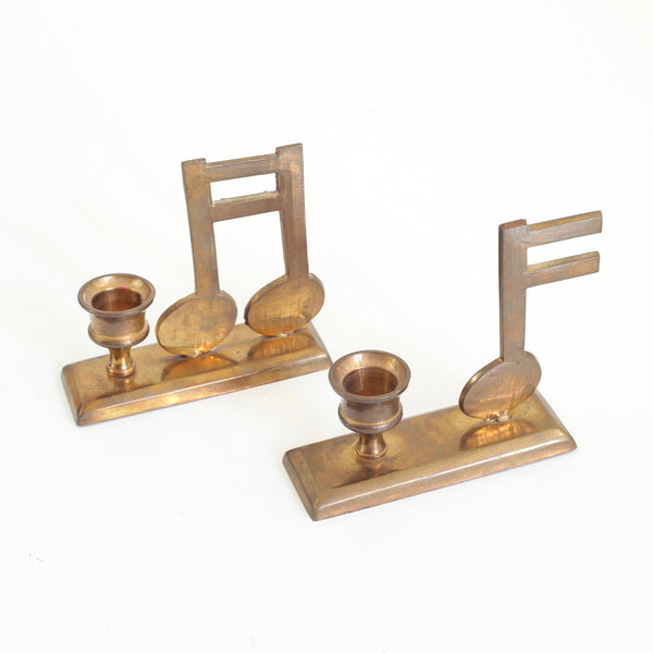 SOLD - Vintage Brass Musical Note Candlesticks