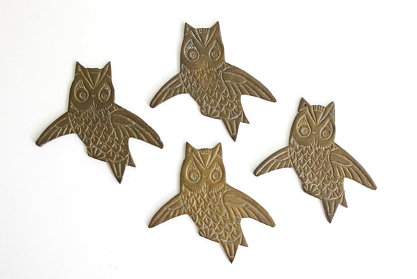 SOLD - Vintage Brass Owl Findings / Set of Four Owl Ornaments / Brass Owl Wind Chimes
