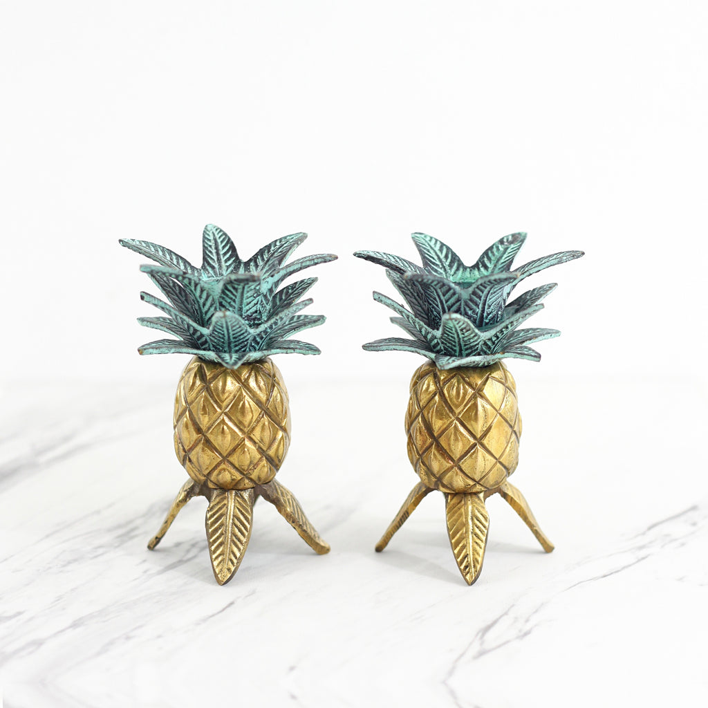 SOLD - Vintage Brass Pineapple Candlesticks