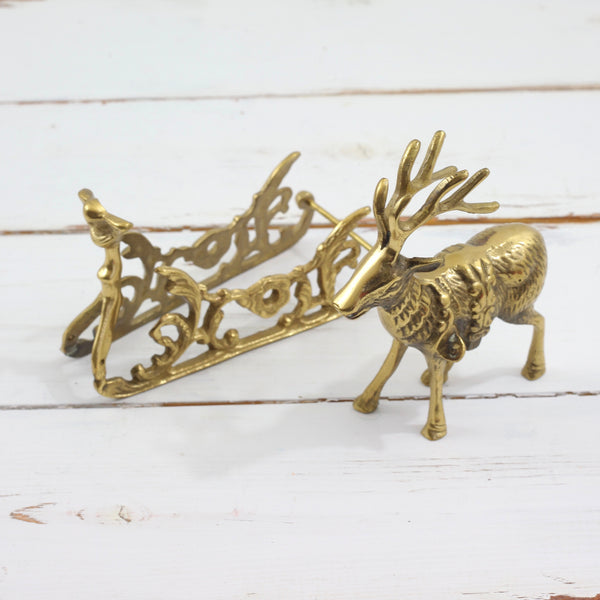 SOLD - Vintage Brass Reindeer and Sleigh