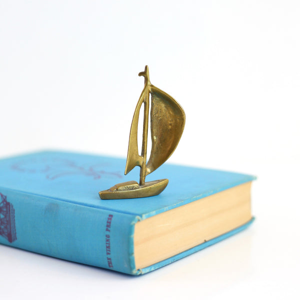 Vintage Brass Sailboat Figurine