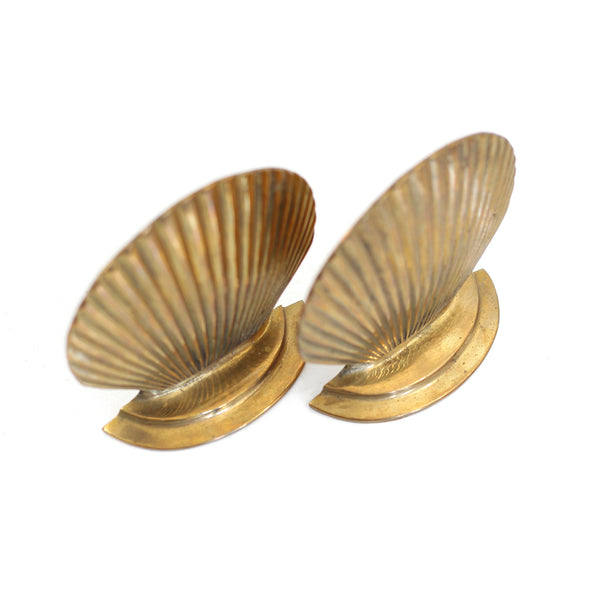 SOLD - Vintage Brass Sea Shell Bookends