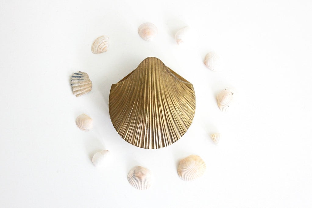 SOLD - Vintage Brass Sea Shell Trinket Box / Brass Clam Shell Jewelry Box