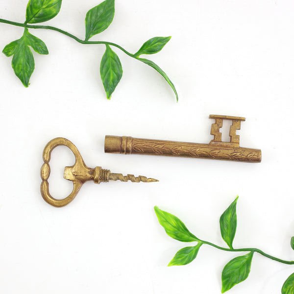 Vintage Brass Skeleton Key Corkscrew / Bottle Opener