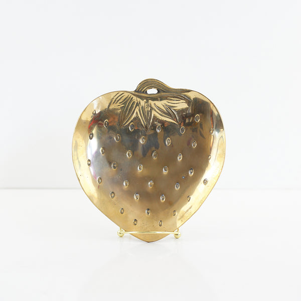 SOLD - Vintage Solid Brass Strawberry Dish