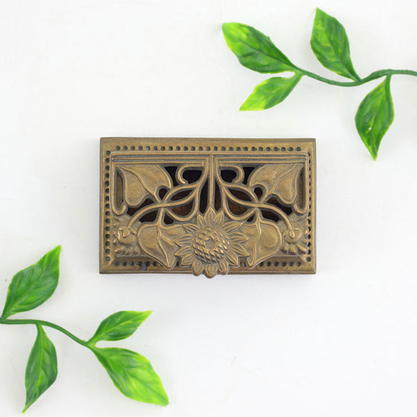 Vintage Brass Sunflower Stamp Holder / Vintage Brass Trinket Box