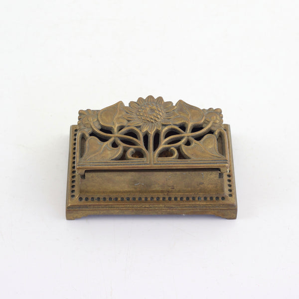 SOLD - Vintage Brass Sunflower Stamp Holder / Vintage Brass Trinket Box