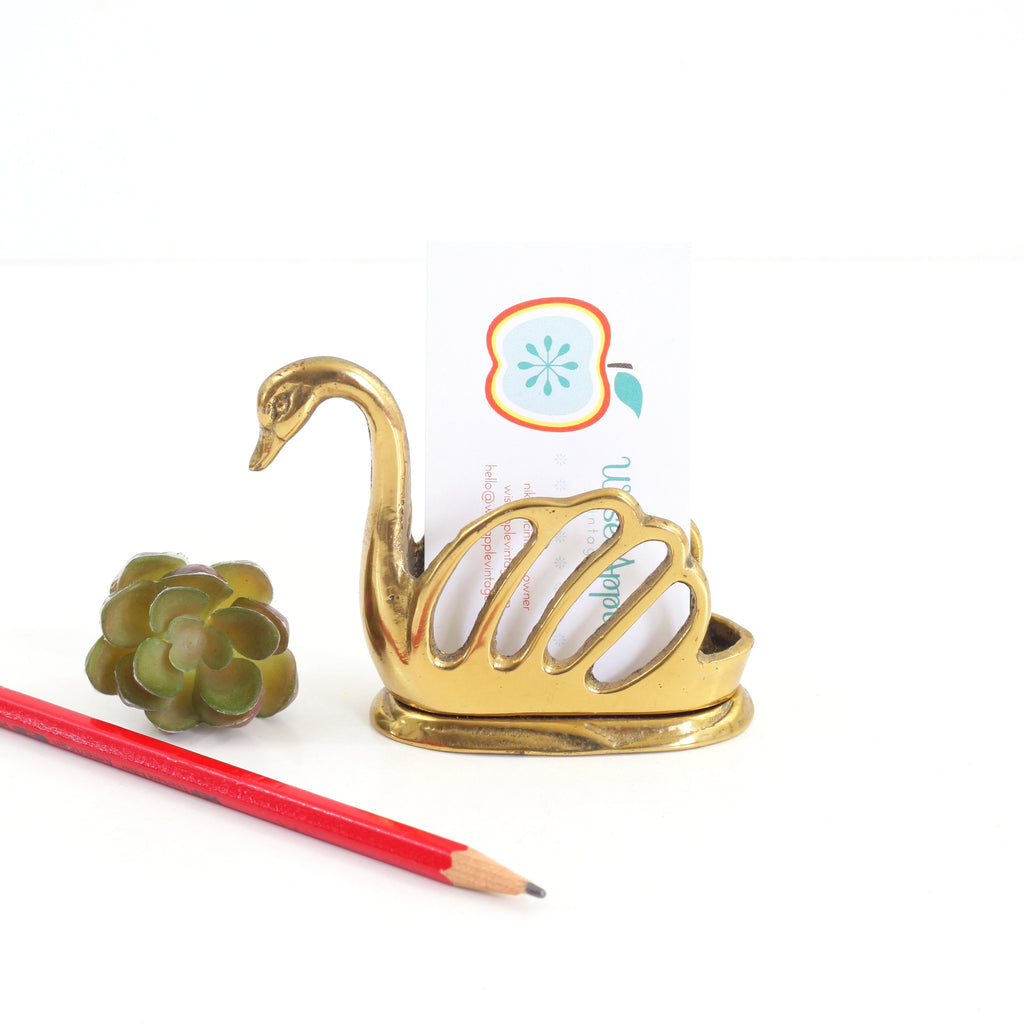 SOLD - Mid Century Brass Swan Business Card Holder