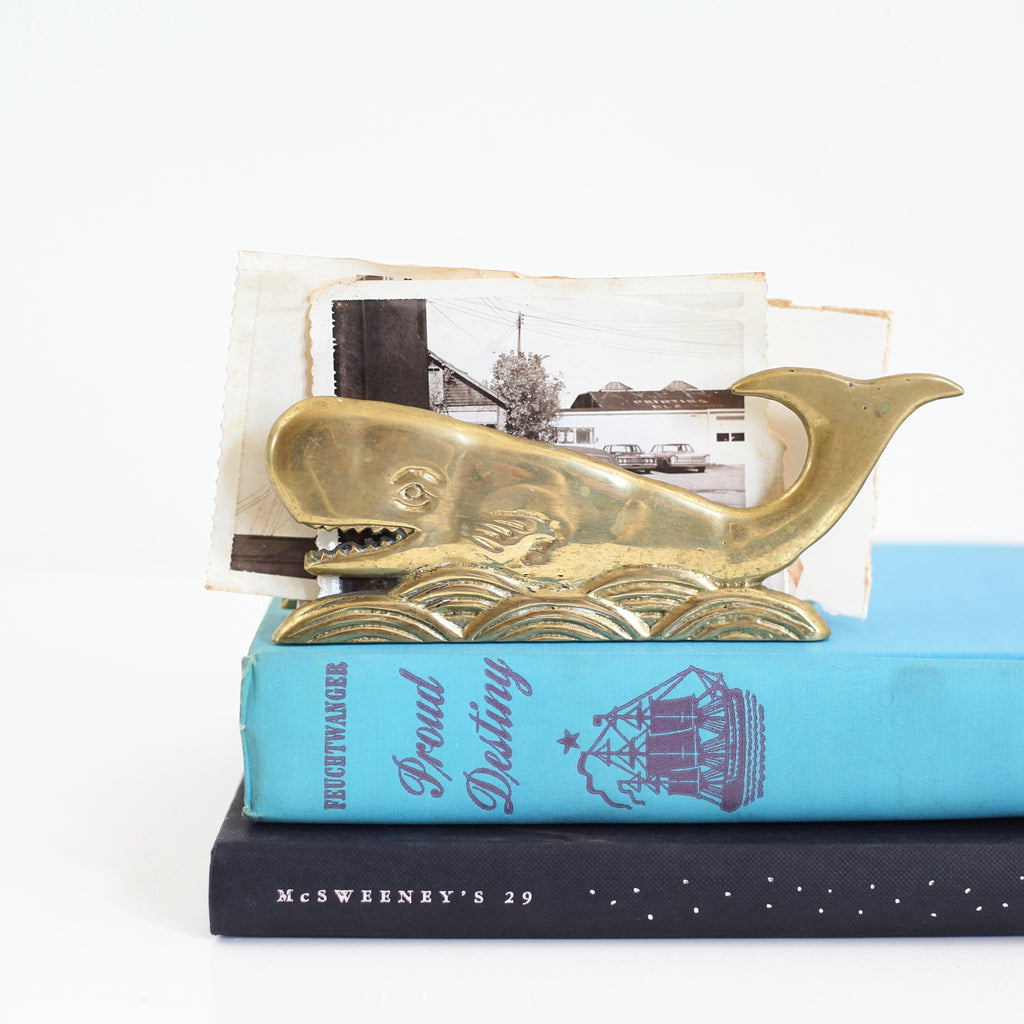 SOLD - Vintage Brass Whale Letter Holder