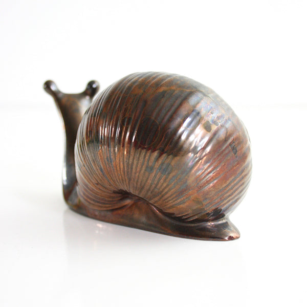 Vintage Ceramic Snail Figurine with Bronze Glaze