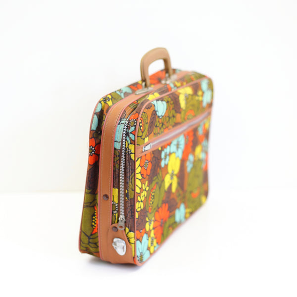 SOLD - Vintage Flower Power Fabric Suitcase