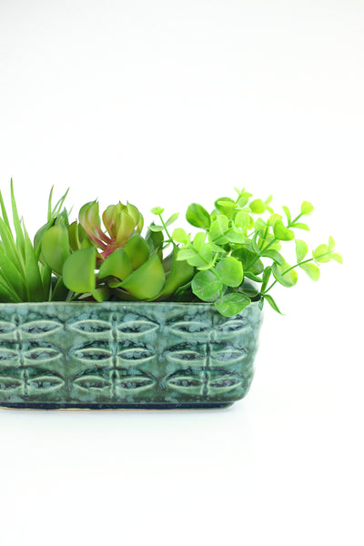 SOLD - Mid Century Brush McCoy Planter - Green Leaf Print