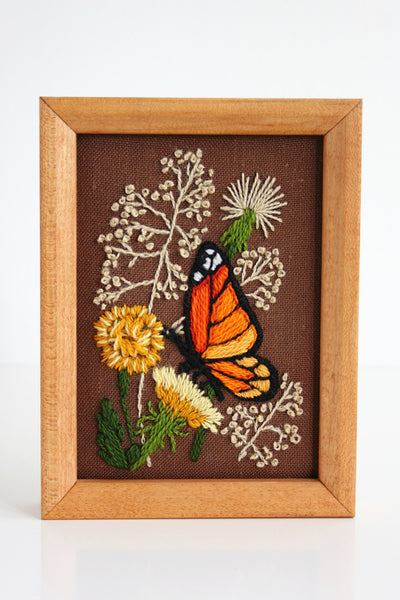 SOLD - Vintage Framed Monarch Butterfly Crewel Embroidery