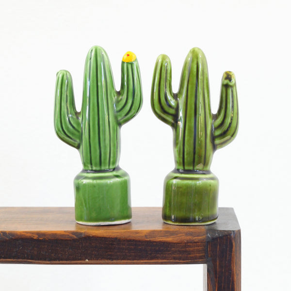 SOLD - Vintage Cactus Salt and Pepper Shakers