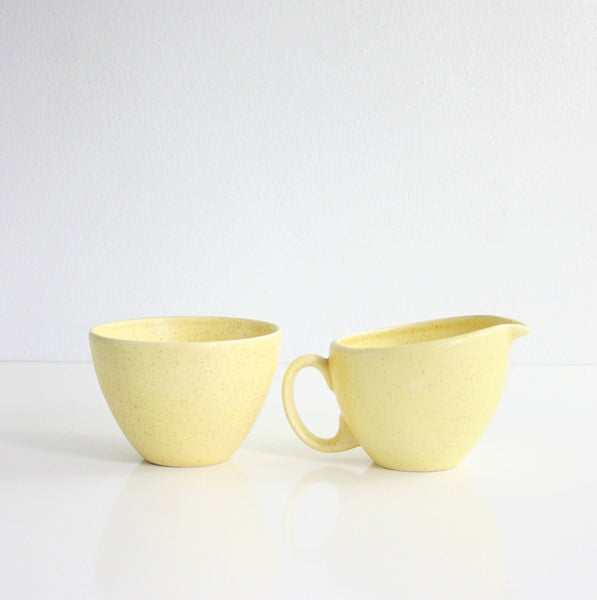 SOLD - Vintage Canonsburg Pottery Sunbeam Cream and Sugar Set / Mid Century Yellow Creamer and Sugar Bowl