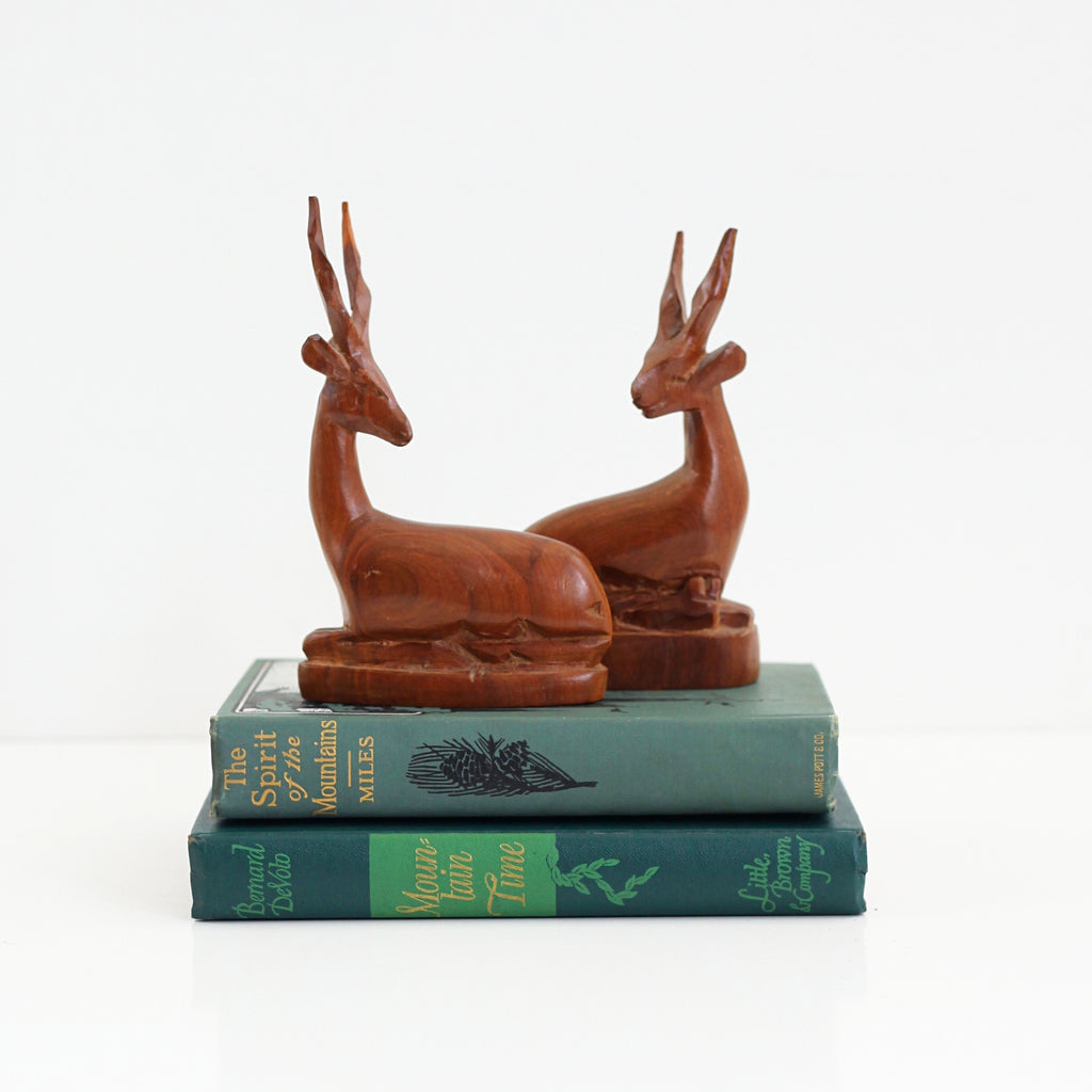 Vintage Carved Wood Antelope Figurines