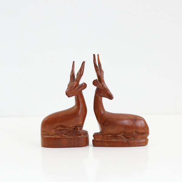 SOLD - Vintage Carved Wood Antelope Figurines