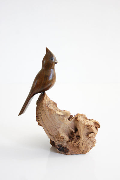 SOLD - Vintage Carved Wood Cardinal Figurine / Vintage Driftwood Bird Sculpture