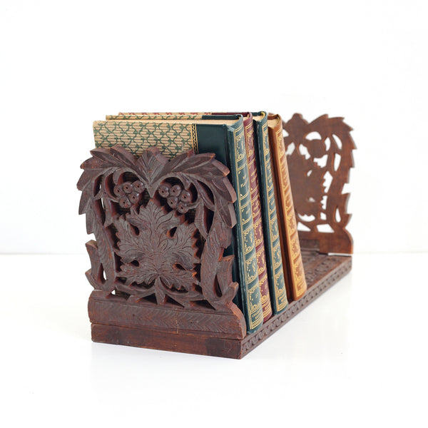 SOLD - Vintage Carved Wood Expandable Book Rack