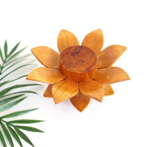 SOLD - Vintage Wooden Flower Candle Holder