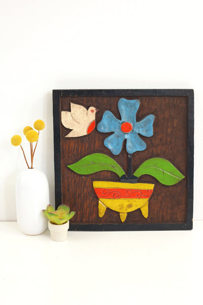 Vintage Carved Wood Folk Art Wall Hanging