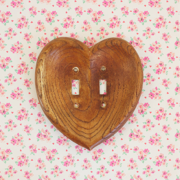 SOLD - Vintage Carved Wooden Heart Switch Plate Cover