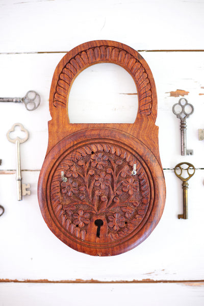SOLD - Vintage Carved Wood Key Rack