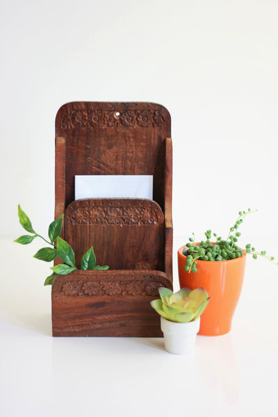 SOLD - Vintage Carved Wood Letter Sorter