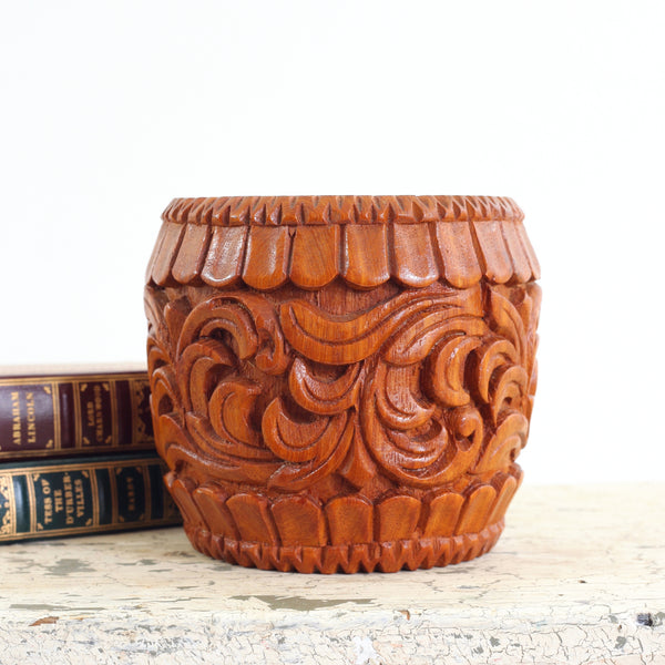 SOLD - Vintage Carved Wood Planter