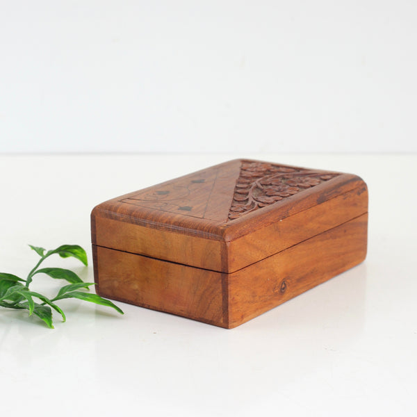 Vintage Carved Wood & Brass Trinket Box