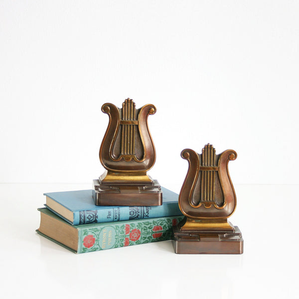 Art Deco Brass and Copper Lyre Bookends by PMC