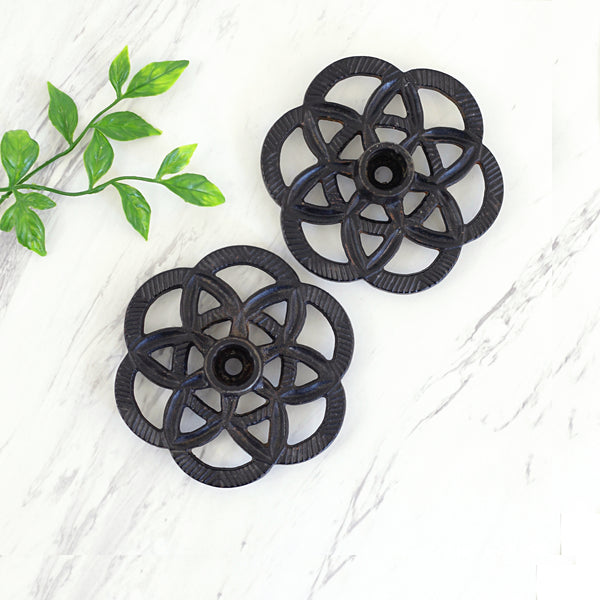 SOLD - Vintage Cast Iron Emig Geometric Candlesticks