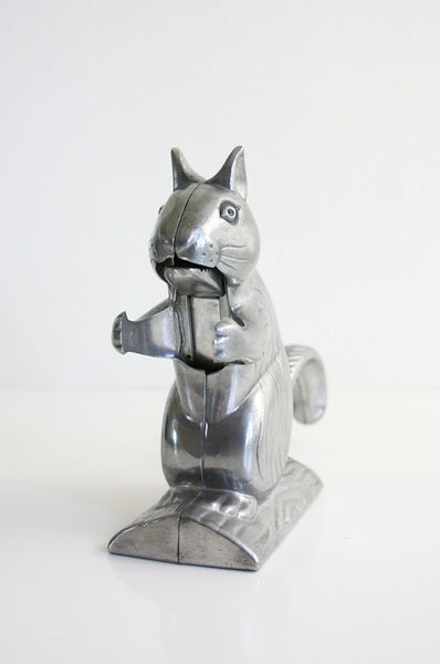 SOLD - Vintage Silver Squirrel Nutcracker / Vintage Cast Aluminum Figural Nut Cracker